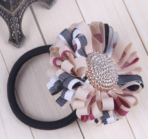 6pcs/lot Classic Plaid Daisy Flower Hair Bands Ties For Girls Hairbands Ponytail Holder Accessories For Hair Free Shipping A0604(China (Mainland))