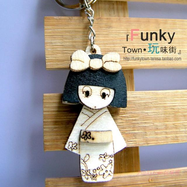 Wool kimono doll keychain mobile phone package bag car pendant accessories