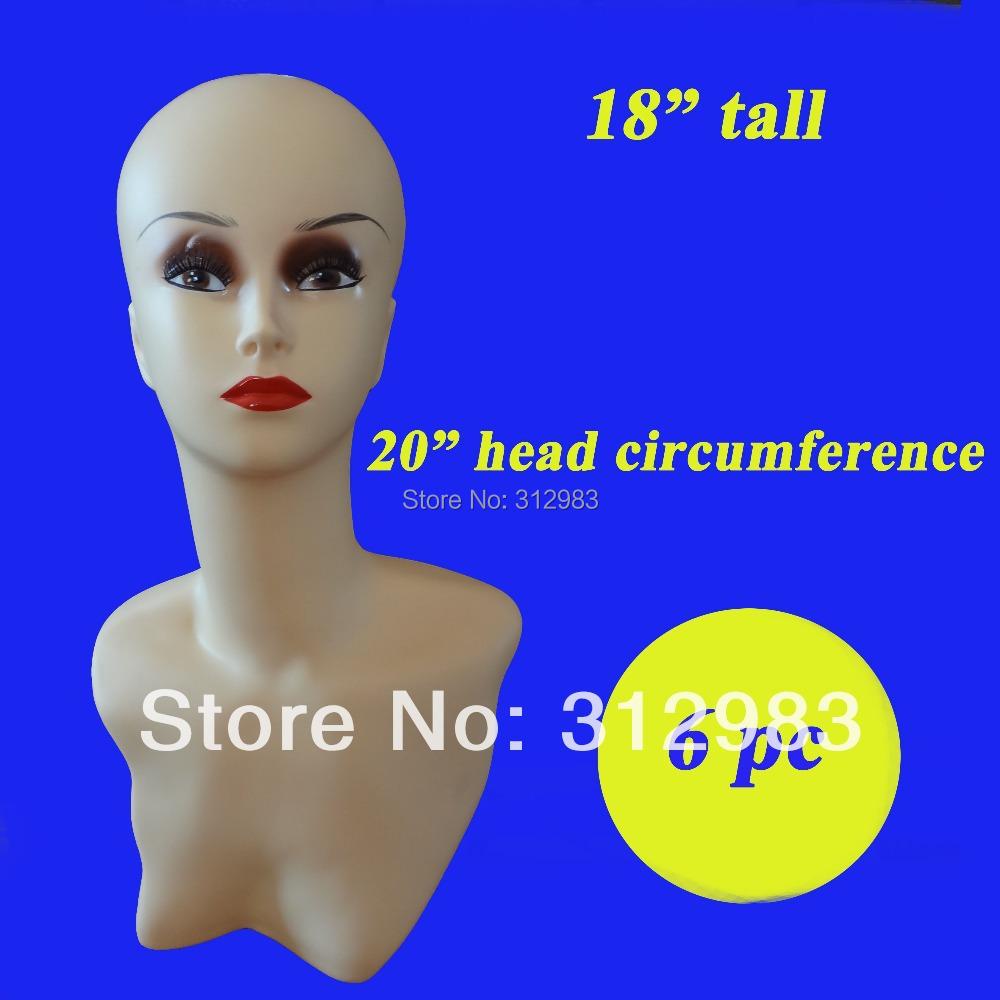 "6pcs--18"" tall PVC rubber wig mannequin manikin styrofoam head wig/necklace/cap/hat display head PDX(China (Mainland))"