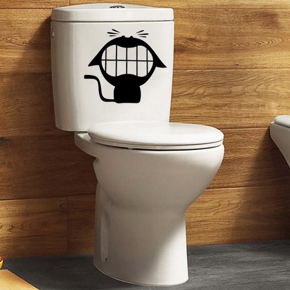 Creative laughing cat bathroom closestool toilet wall sticker decal bathroom hotel decoration - Decoration toilette ...