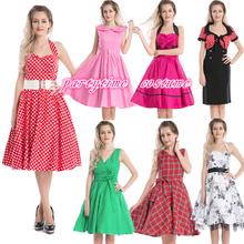 New Vintage 1950s floral polka dot tartan pin up rockabilly dress all styles S-6XL