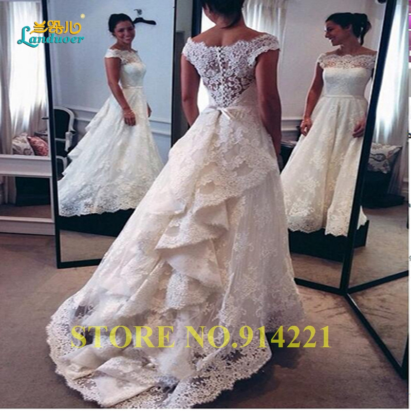 Buy high quality lace see through ruffles for Tiered wedding dress with sleeves