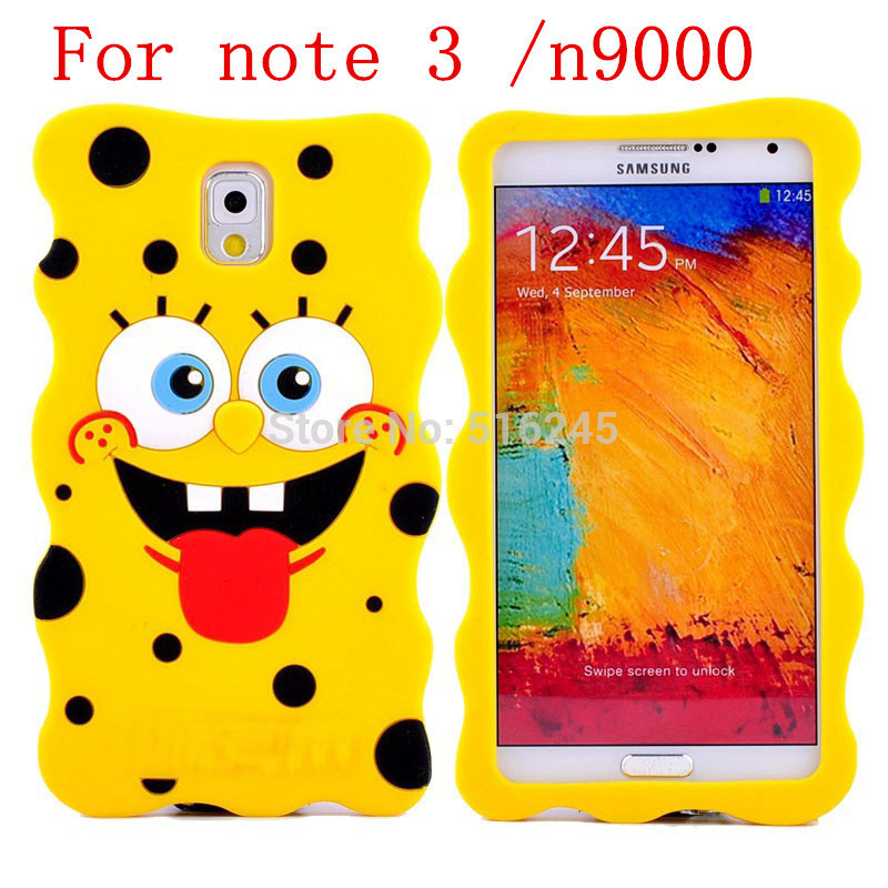3D Cartoon Spongebob Note 3 N9000 Silicone Case Samsung Galaxy 2 N7100 Back Skin protective Soft Phone bags cases - Julian's Department Store store