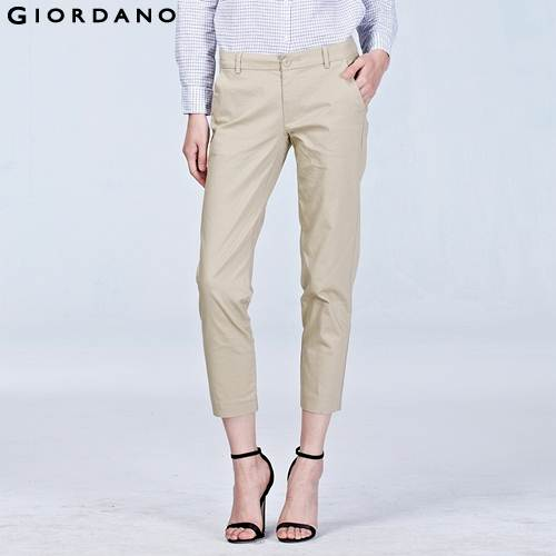 Beautiful Giordano Women Pants Chino Solid Cotton Trousers Dobby White Pants Summer Style Pantalon Femme ...