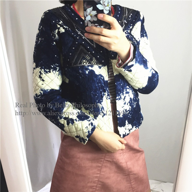 2015 autumn winter vintage ink print Sequins Embroidering Flower women jacket warm coat