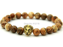 2015 New Design Jewelry Wholesale 8mm Natural Picture Jasper Stone Beads Antique Gold Lion Head Bracelets, Mens gift(China (Mainland))