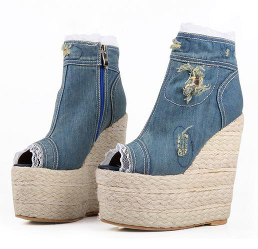 Фотография Brand New Blue Denim Wedge Sandals Summer Shoes Fashion Lace decor Women Peep Toe Ankle Boots Gorgeous Ladies Party Shoes Sales