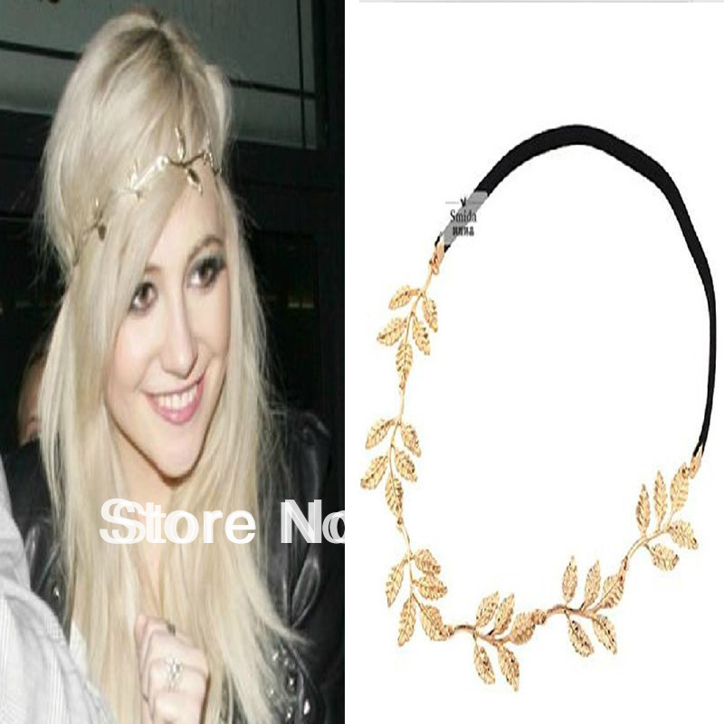 Fashion Lady Golden Leaf Hairpin Elastic Alloy Leaves Headband Hairband Necklace Free Shipping &Drop shipping(China (Mainland))