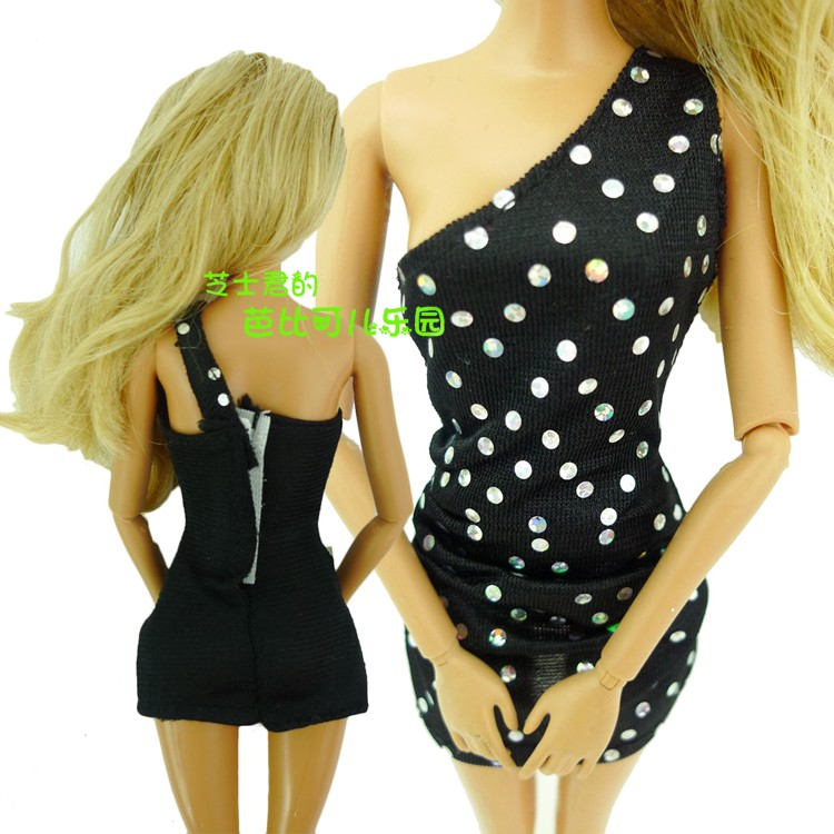 2016 New Style Doll Gown Lovely Handmade Occasion Garments Black Dot Gown For Barbie Doll, Greatest Childen Reward Women present