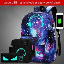 2018 Anti-voleur sacs veilleuse musique petit homme sac à dos impression 3D ciel étoilé sacs d'école pour les filles pour les adolescents pour les garçons(China)