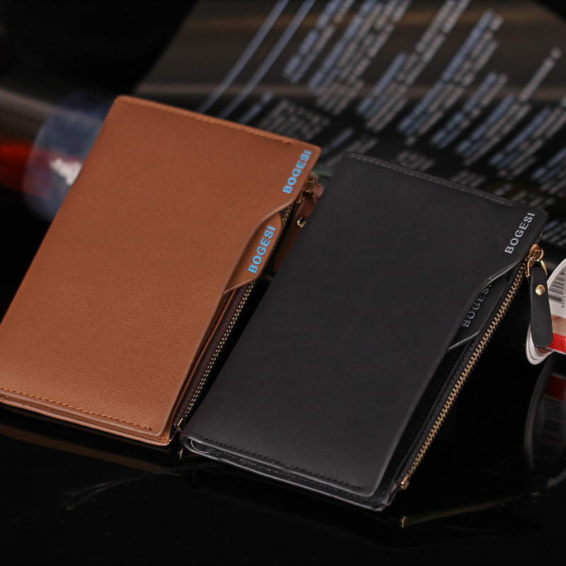 Hot Men Fashion Zipper Wallets Short Design Money Purse Phone Card Bags Coin Photo Holder