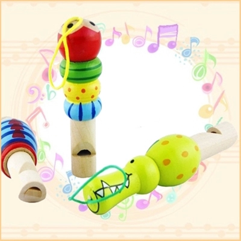 2016 New Well Designed Cartoon Baby Kid Children Wooden Toy Musical Instrument Trumpet Hooter Bugle Suona Toy Handbag decorate(China (Mainland))