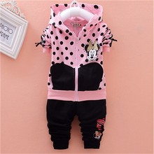 baby girls clothing sets cartoon minnie mouse 2015 winter children's wear cotton casual tracksuits kids clothes sports suit hot(China (Mainland))