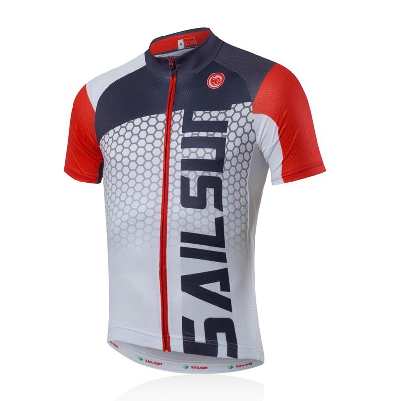 Hot SAIL SUN Men Cycling Jersey Top Red White Bike Clothing Pro Bicycle Shirts Jacket MTB Short Sleeve Summer Team Cycling Wear(China (Mainland))