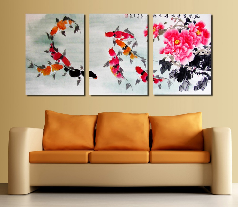 2016 new cuadros decoracion quadros koi fish modern wall for Koi wall decor