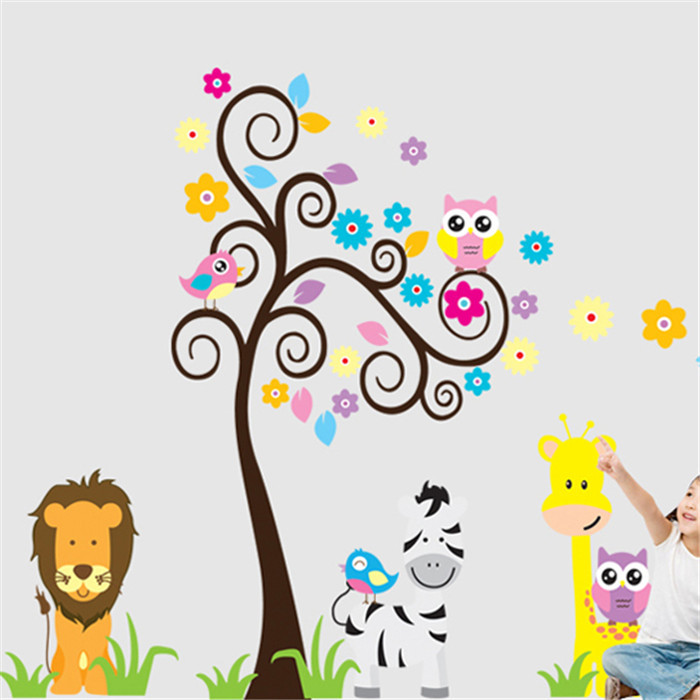 Large size Colorful Tree Cartoon Animal Vinyl Removable Decals Kids Child Nursery Room Home Decor Mural PVC Wall Stickers - Happy Leo store