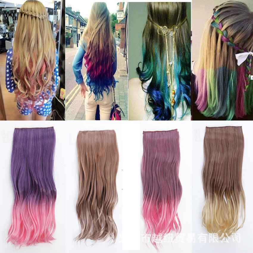 55cm Long Curly Clip In Hair Extensions New Fashion Double Colors Gradient Cosplay Synthetic