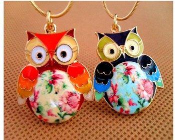 N027 Exquisite Glaze Color Drops Owl pendant Necklaces female Girls Fashion vintage necklaces jewelry wholesale M/D