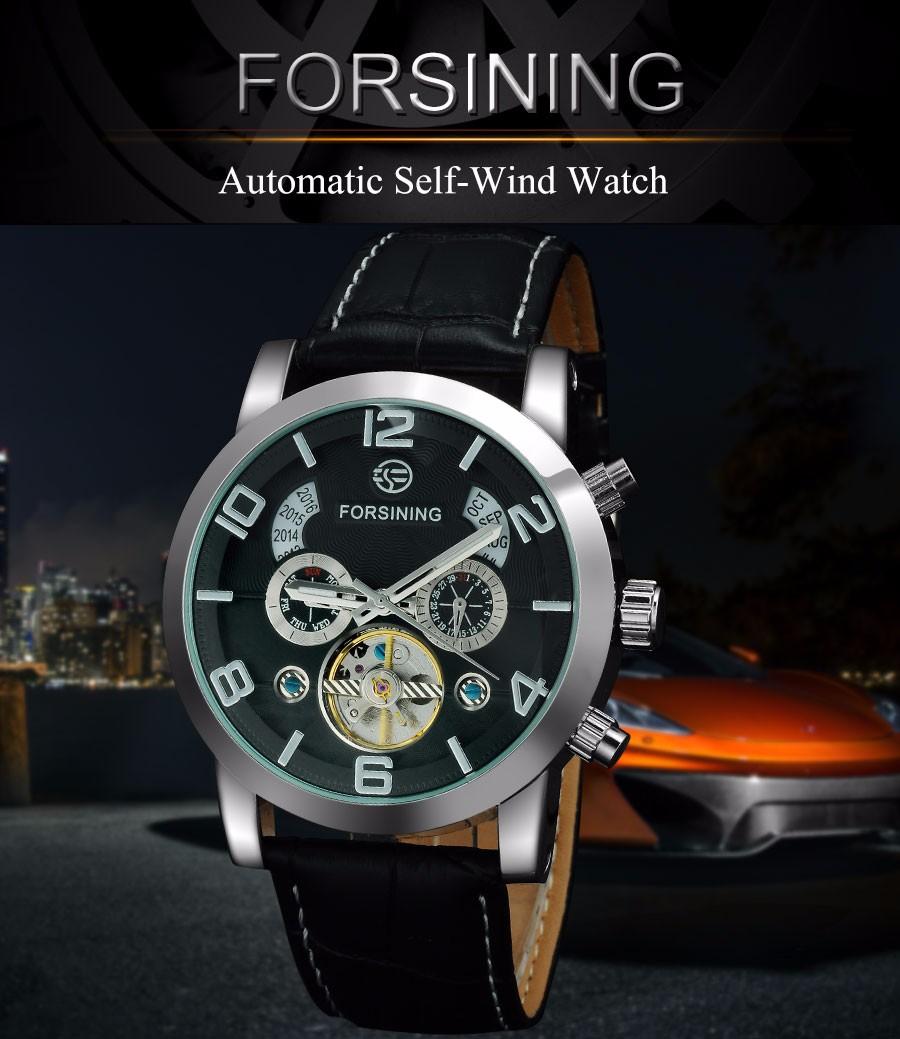 2016 FORSINING luxury brand men tourbillion Mechanical automatic self  wind fashion casual business watches genuine Leather band