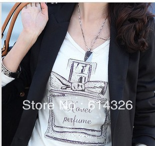 2015 New Fashion V-neck Scent-bottle Print Women's T shirt Summer Autumn Slim Cotton Tops tees Plus Size T-shirts DH2045