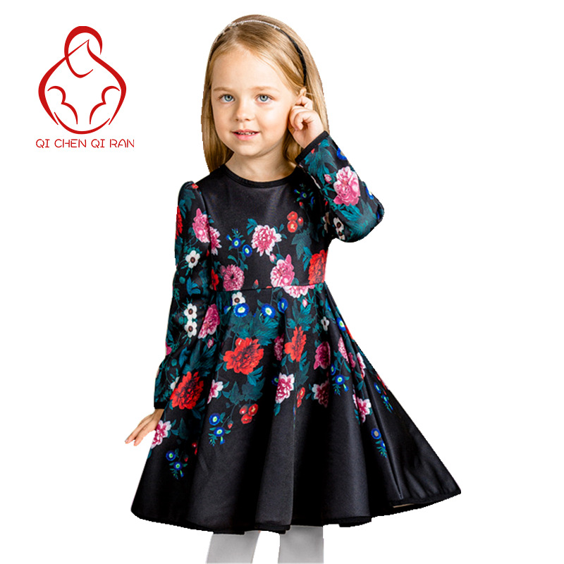 Girls dress new winter fashion designer floral princess dress Girls clothes Children Party Dresses brand children's clothing(China (Mainland))