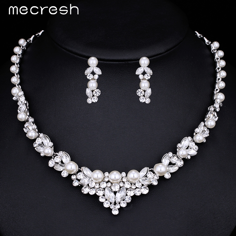 Mecresh Elegant Simulated Pearl Bridal Wedding Jewelry Sets Leaf Crystal Silver Plated Necklaces Earrings Set for Women TL280