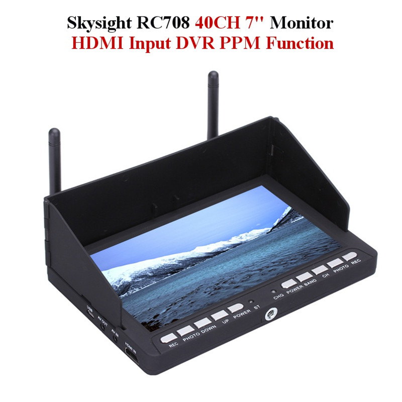 Skysight RC708 5.8G 40CH Diversity Rx 7 Inch Monitor HDMI Input DVR Display Ppm Support Fatshark ImmersionRC(China (Mainland))