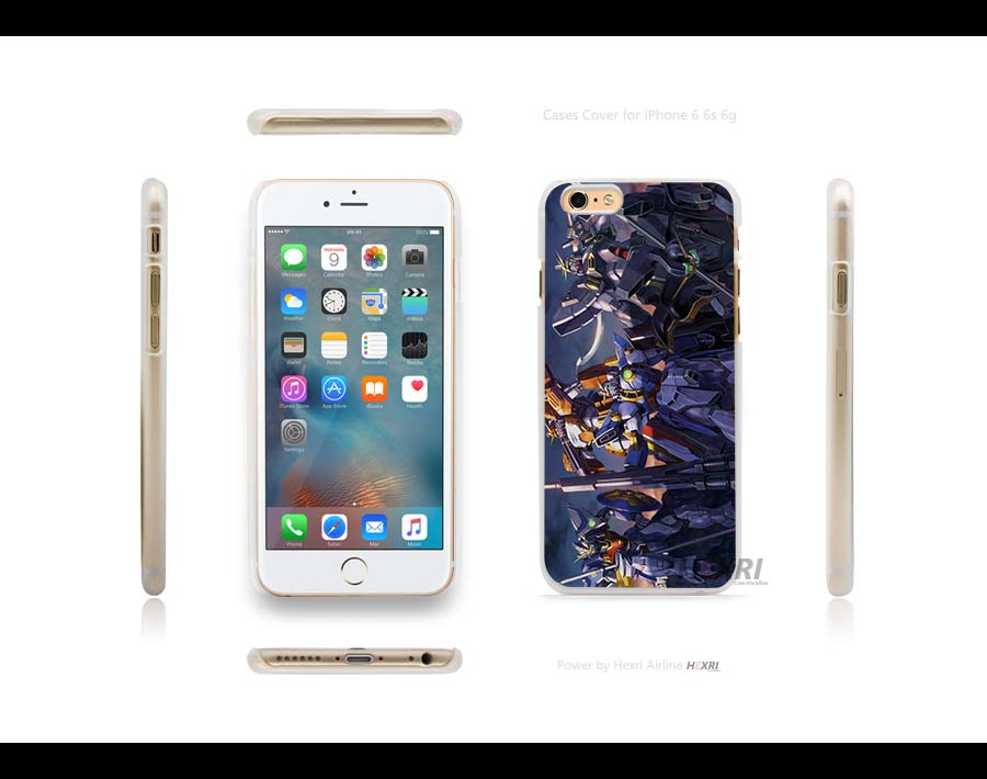 5 Gundams GW Hard Transparent Clear Case Cover for iPhone 4s 5 5s SE 6 6s Plus 6+(China (Mainland))