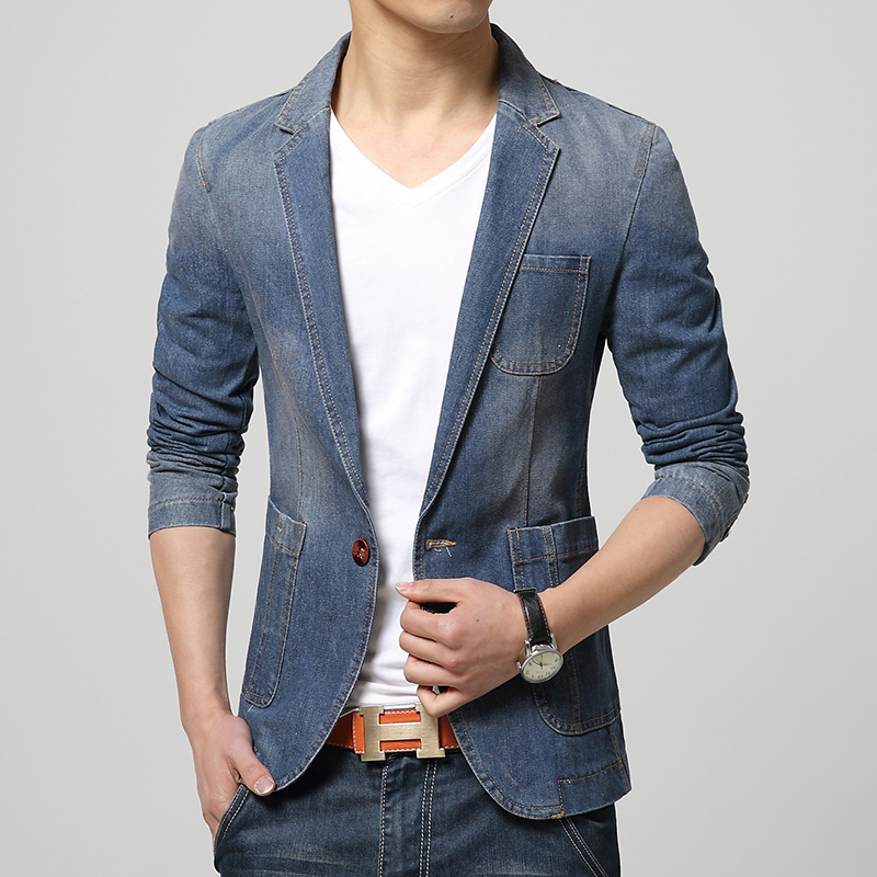 2016 Korean Mens Casual Blazer Jacket Blue Denim Blazer Men One Button Slim Fit Casual Jackets Jeans Coat Male maillot homme 3XL(China (Mainland))