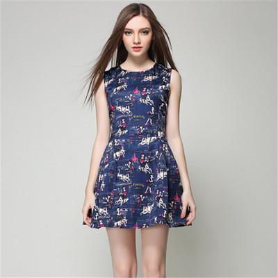 2015 Summer style European high-quality Runway dress boutiques, elegant lady sleeveless fancy floral print Mini Dress Tan(China (Mainland))
