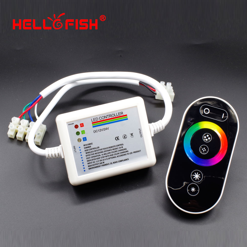 Hell Fish RGB Touch Panel Controller DC 12-24V RF Wireless Remote Control for RGB LED Strip(China (Mainland))