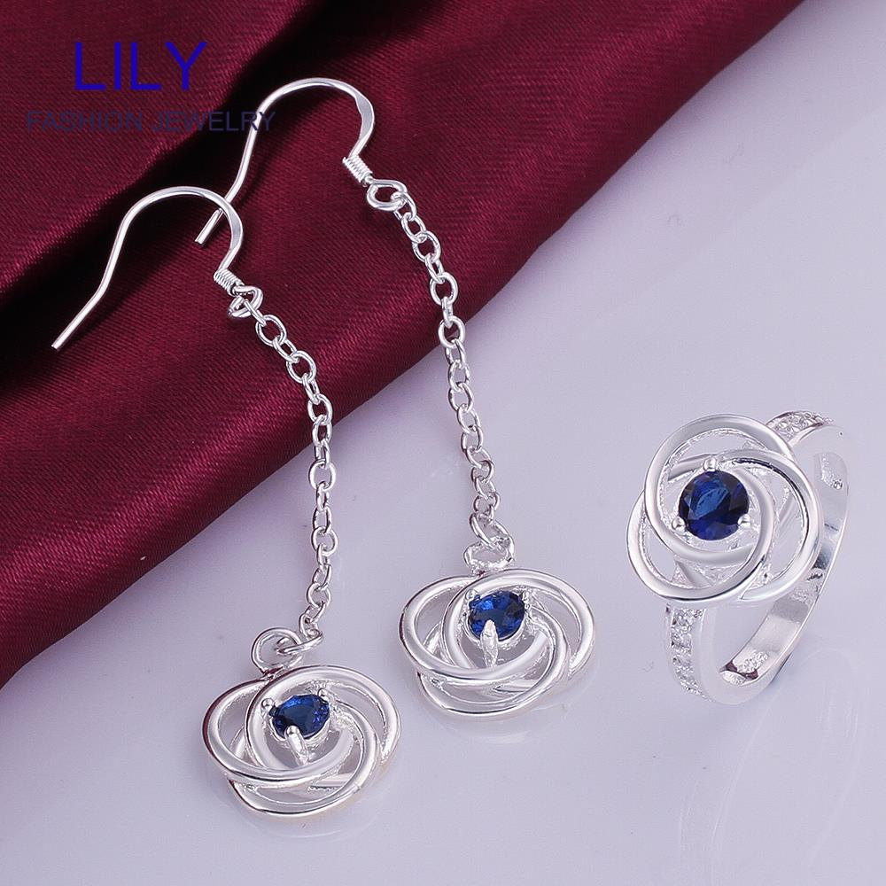 S754-A Christmas Gifts Blue Zircon Jewellery Sterling Silver 925 Fashion Jewelry Set Sapphire Earrings Rings Gift Sets - hailiu jewelry store