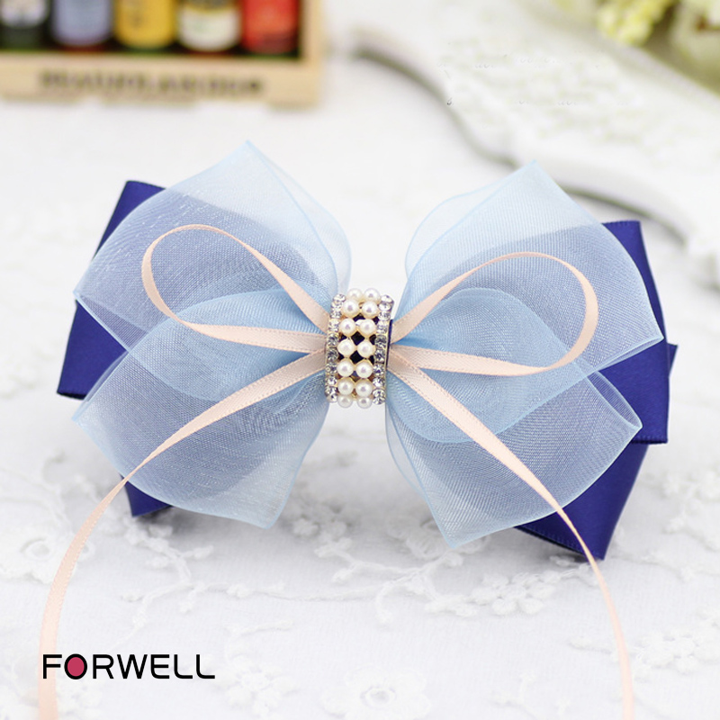 Handmade bow hair accessories hair clip ribbon blue silk yarn barrettes composite bow beaded hairpins headdress flower for women(China (Mainland))