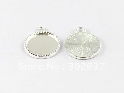 "FREE SHIPPING 50PCS 0.75"" Silver plated Cabochon Settings Pendant Trays picture frame Round Charms A15019SP"