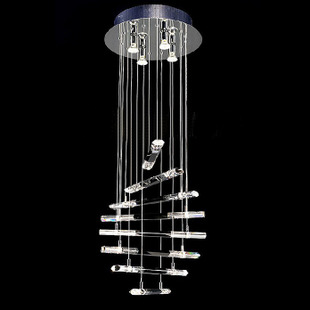 gene pendant light long black and white crystal lamp stair lamp