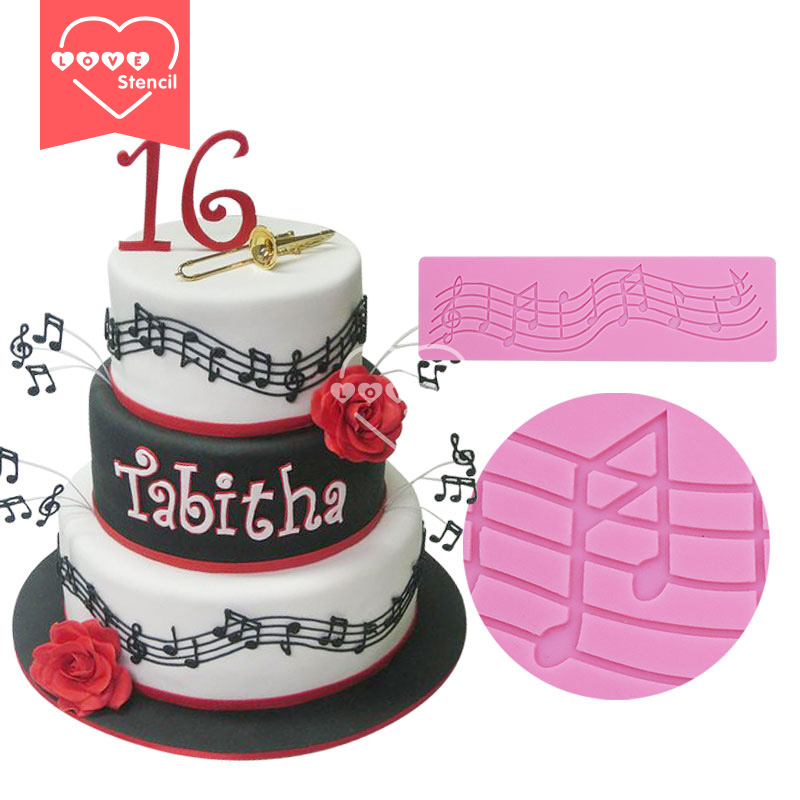 Musical Notes Silicone Mat Lace Mold Fondant Cake Decorating Tools Moule Silicone Chocolate Molds Mould Bakeware Christmas LM-01(China (Mainland))