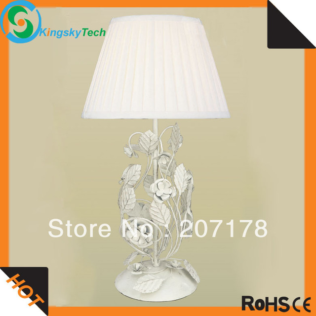 1lt Cream Gold Classic Table Lamp KS1458T-1GW with metal Rose and Leaves, free Shipping