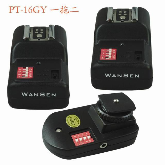 2014 Fotografia Steadycam [drop Shipping] Wansen Pt-16gy 16 Channels Wireless/radio Flash Trigger Set with 2 Receivers 30200122