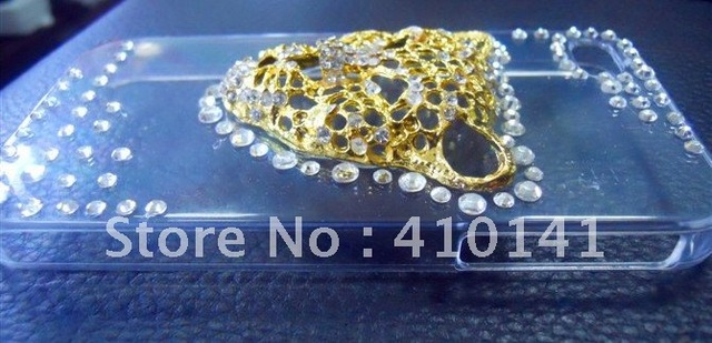 Free Shipping- New design Cute Leaopard Head Crystal Stone Case TOP QUALITY LUXURY phone case for iPhone 4G/4S