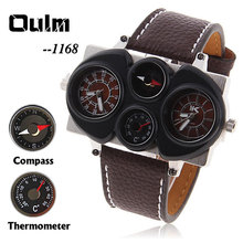 OULM 1168 Cool Military Sport Analog Digital Men s watch with Leather Band Wristwatch Compass and