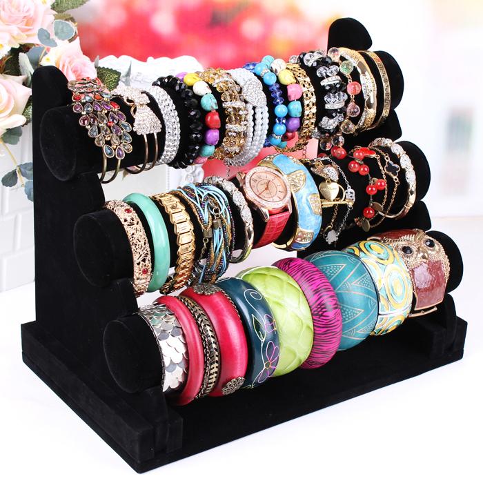 Black Fabric Bangle bracelet display rack made jewelry rack Jewelry display hair tie accessory stand free shipping(China (Mainland))