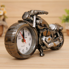 New Motorcycle Cartoon Alarm Clock,Home Decor Art Craft Electronic Desktop Table Clock,High Quality Gift,4 color without Battery