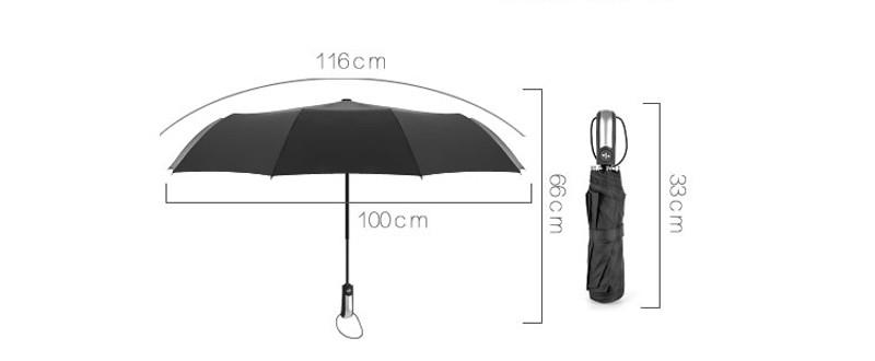 Luxury Business Male Umbrella Full Automatic 3 Folding Umbrella 10-Rib Strong Windproof Fashion Black Women Lady Rain Umbrella11