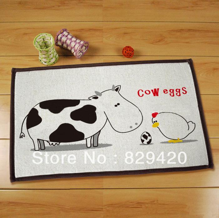 Modern Cartoon Cow Eggs Bathroom Mat Bedroom Carpet