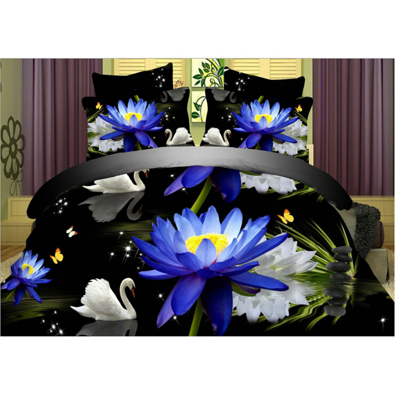 New Blue Floral Swan Lake Reactive Printing Bedclothes Bedding Set, Duvet Cover Bed Sheet Comforter Set Gift for 2.0m Bed(China (Mainland))