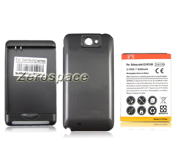 6500mAh Extended Battery + Black Case +Wall Charger Samsung Galaxy note 2 N7100 - Shenzhen Zerospace Technology Ltd. store