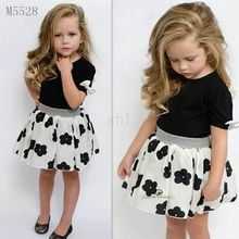 Summer Girls Clothing Sets Fashion Short Sleeve T shirt+ chiffon tutu floral Skirts Children Kids Girl Clothes 2pc Set(China (Mainland))