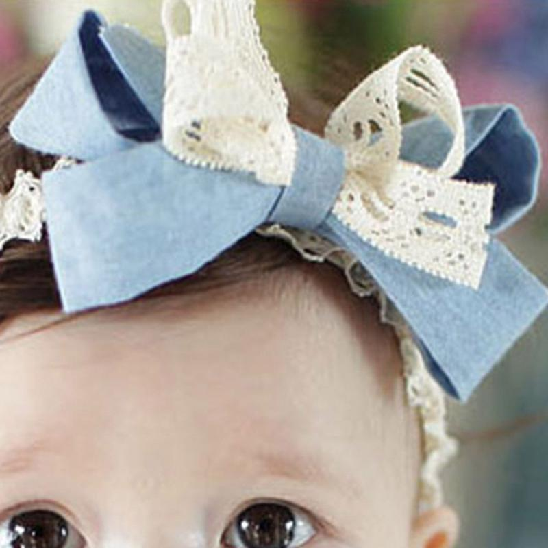 Lovely Lace Bow Elastic Hairband Girl Kid Headband Cute Newborn Baby Hair Band Fashion Accessories(China (Mainland))