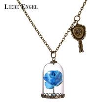 Buy LIEBE ENGEL Glass Bottle Paper Flowers Necklace & Pendant Choker Statement Necklace Fashion Vintage Beauty Beast Jewelry for $1.44 in AliExpress store