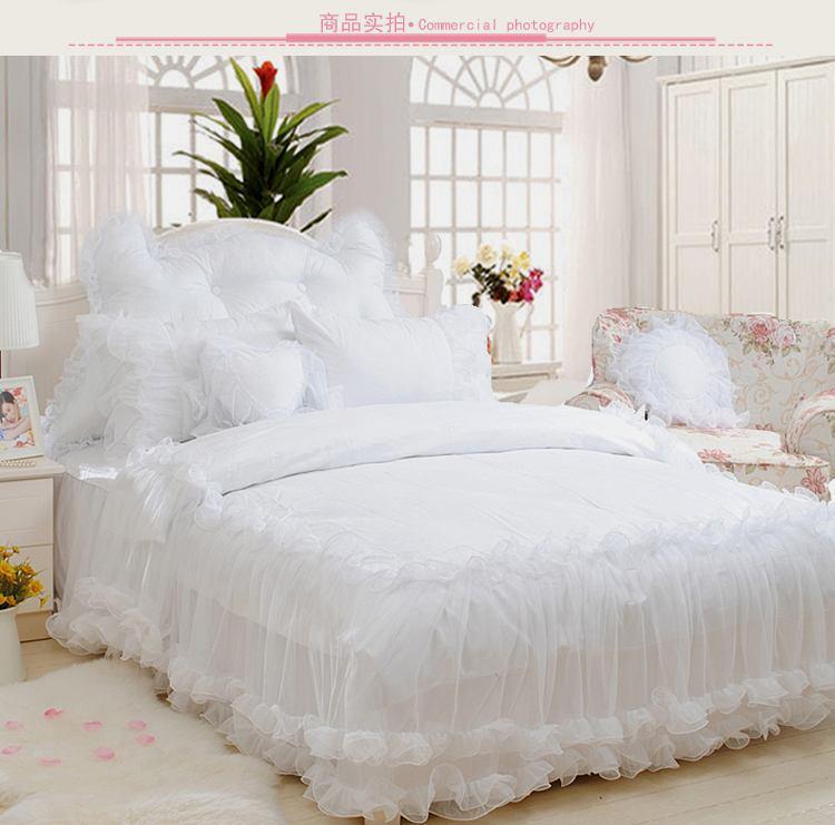 Luxury Ruffles Jacquard Bedding Sets King Size 4pcs Snow